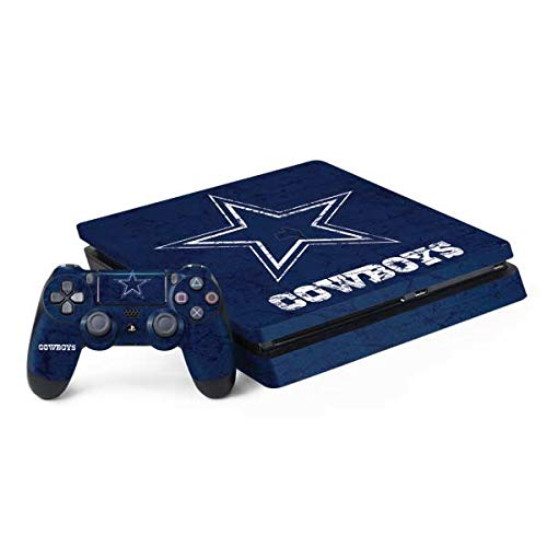 Skinit Decal Gaming Skin Compatible with PS4 Slim Bundle - Officially Licensed NFL Dallas Cowboys Distressed Design