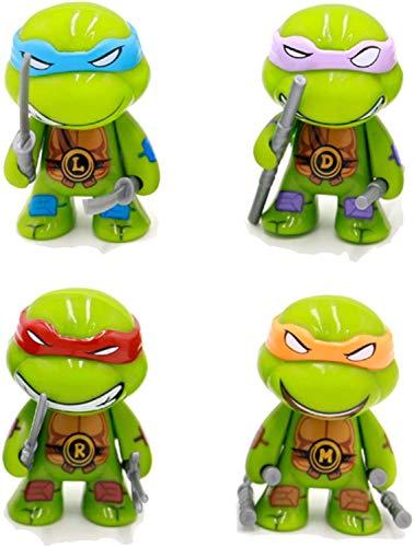 Teenage Mutant Ninja Turtles 2.8-inch Movable Doll Toy 4 Pieces (TMNT-Leonardo Da-Raphael-Michelangelo-Donatello Set)