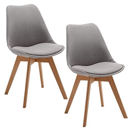 Deuline Oslo Esszimmerstuhl Küchenstuhl SGS Zertifiziert Massivholz Beine Polsterstuhl Retro Design Stühle Lehnstuhl, Hellgrau-stoffbezug, 2 Stück Set