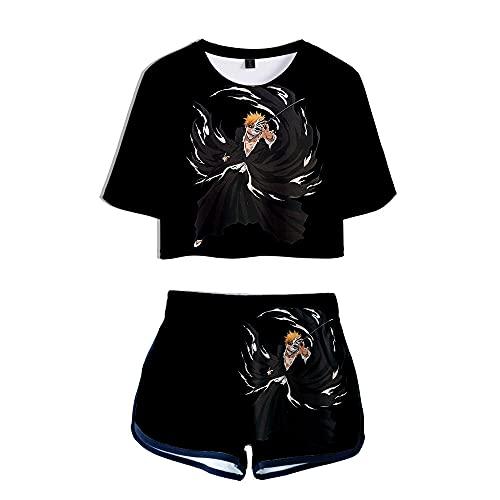 Bleach Camisetas Y Pantalones Cortos De Mujer Tops Y Pantalones De Verano Traje Deportivo Top Blusas De Manga Corta Camisetas Camisa,XXL