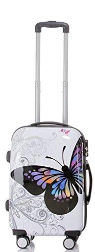 Reise Koffer Trolley mit Polycarbonat ABS Hartschale und Motiv BB (2: 45 Liter - Gr. M, Butterfly)