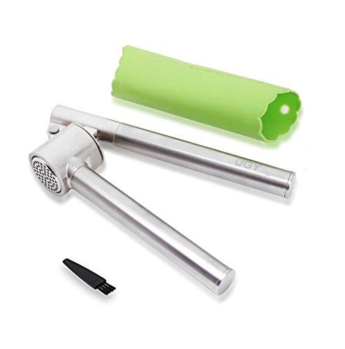 UGY Garlic Press and Peeler Set. Heavy Duty Stainless Steel Kitchen Garlic Mincer, Crusher