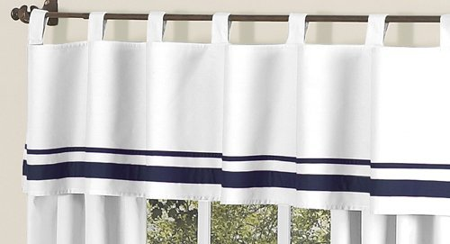 White and Navy Hotel Modern Window Valance by Sweet Jojo Designs