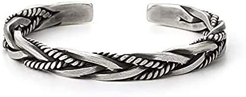 Men Vintage Open Bangle, 925 Sterling Silver Thai Handmade Vintage Open Bangle Twisted Cuff Bracelet