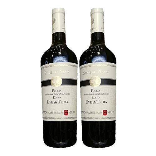 2x Vino Tinto Rosso Puglia IGP Uve di Troia, Sigillo Nero, cl75, Antica Masseria, Taranto, Regione Puglia, Italy