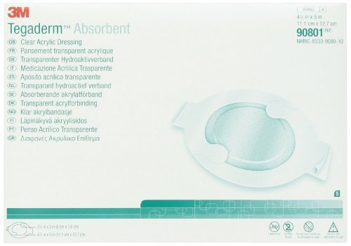 3M Tegaderm Absorbent Clear Acrylic Dressing, Medium Oval 90801, 5 Pads by 3M Skin and Wound Care