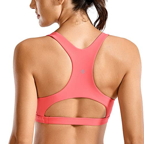 CRZ YOGA UPF 50+ Sujetador deportivo acolchado para mujer, traje de baño bikini Top espalda cruzada sujetador trajes de baño, Tinte cereza, XS