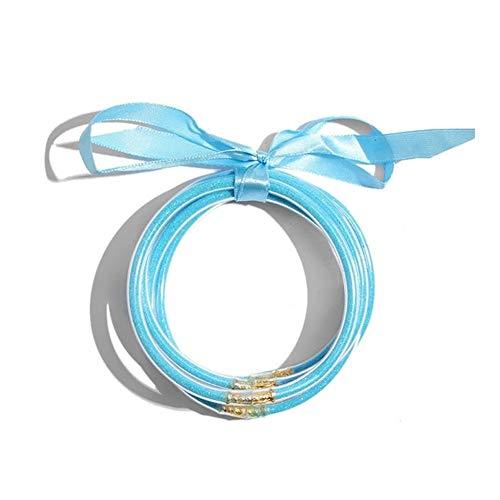 XYBB 5Pcs Fashion Bangle Plastic Lining Fashion Jewelry Lightweight Bracelets (Metal Color : LB)