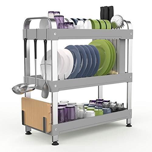 Dish Drying Rack Stainless Steel, Multi-function Dish Dryer with Utensil Holder, Cutting Board Holder, Kitchen Organizer with Drain Board (3-Tier)