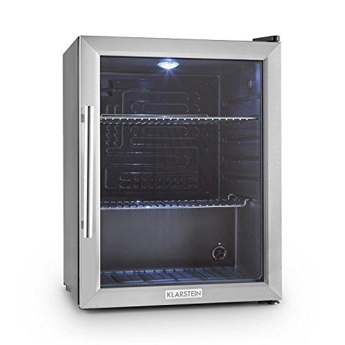 Klarstein Beersafe XL - Minibar, Mini-Kühlschrank, Getränkekühlschrank, leise, 42 dB, Edelstahl, Glastür, 5-stufiger Temperaturregler, 2 Einschübe, 60 Liter, Silber-schwarz