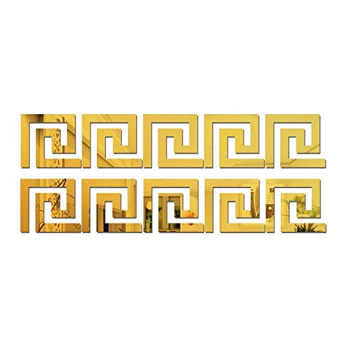 NOLOGO Yg-ct Geometrische Heizleiste Spiegel Wandaufkleber Taillen-Linie 3D Acryl DIY Hauptdekoration-Aufkleber-Wand 10Pcs 10 * 10CM (Farbe : Golden)