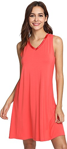 GYS Womens Bamboo Nightgown Sleeveless Soft Nightdress, Large, Peach Pink