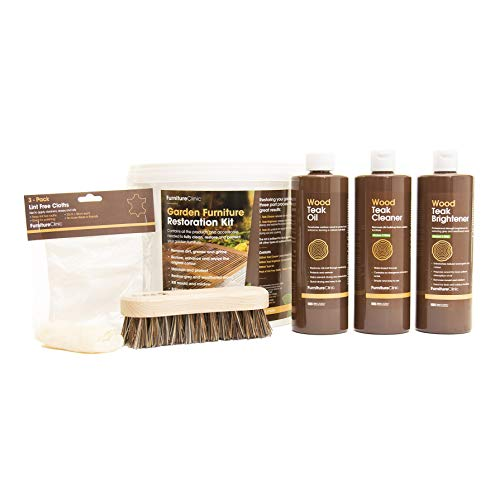 Furniture Clinic Garden Furniture Restoration Kit (8 Piece Set) - Teak Cleaner, Brightener & Oil, Furniture Cleaner for Outdoor Patio Furniture