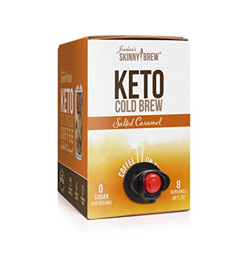 Jordan's Skinny Mixes Keto Cold Brew Coffee On Tap, Salted Caramel with MCT, 48 oz Box, 8 Servings, 51mg Caffeine Per Serving, Sugar Free, Ready to Drink