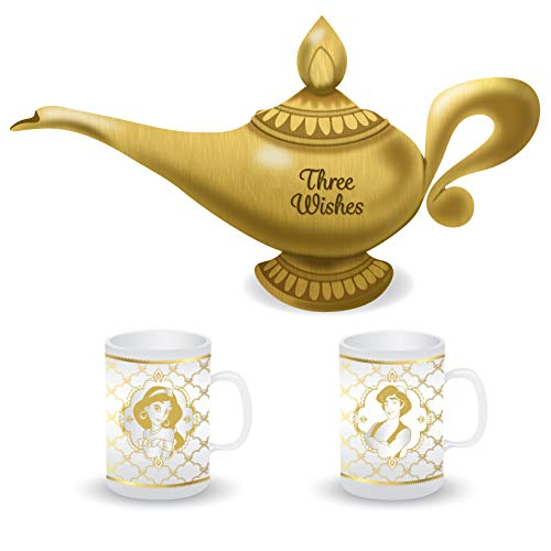 Half Moon Bay Aladdin Shaped lamp Tea Pot and Set of 2 Glasses, Glas