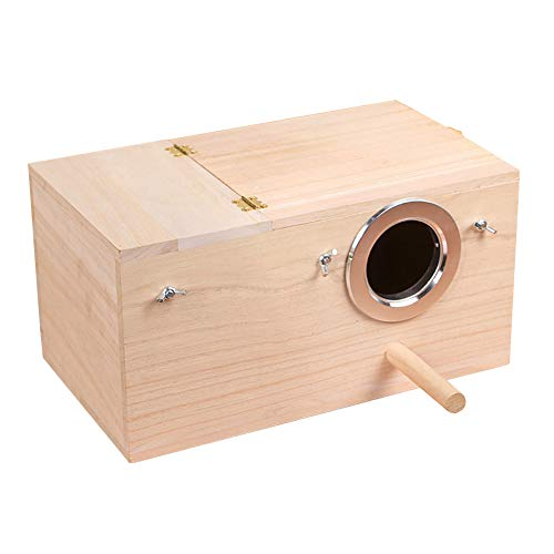 YJJKJ Pet Wood Parakeet Budgie Cockatiel Breeding Nesting Bird Avery Cage Box (XL)