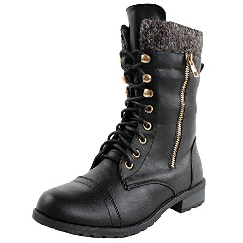 Forever Link Womens Mango-31 Round Toe Military Lace Up Knitted Ankle Cuff Low Heel Combat Boots,Black,9