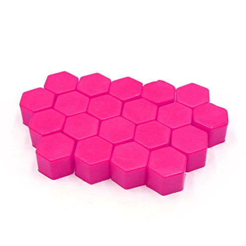 uxcell 20 Pcs 19mm Pink Silicone Luminous Car Vehicle Wheel Tyre Hub Screw Bolt Nut Cap Covers