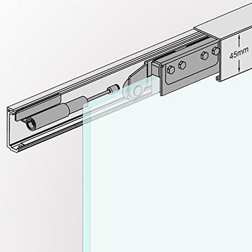 AS155: Soft Stop Slim Line komplett Schiebetür Beschlag inkl. 1550mm Alu Schiene und Zubehör für Glasschiebetür 775mm breit