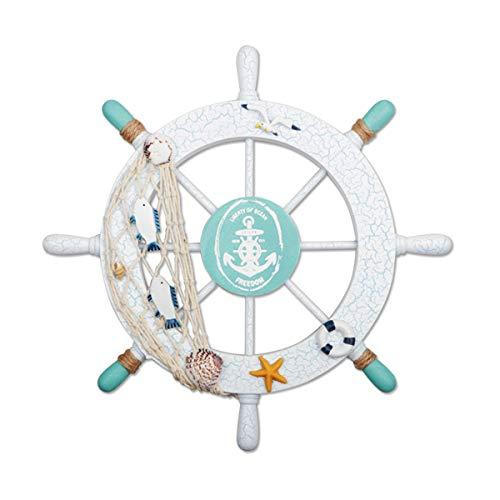 Fangoo 28 cm Wanddeko Steuerrad Holz Steuerrad Deko mit Fischnetz Schiff Lenkrad Deko Maritime Deko Nautische Boot Haus Garten Dekoration(Grün)