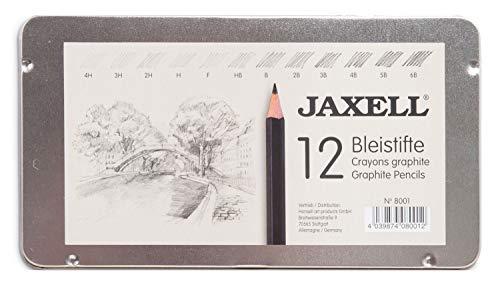 Honsell 8000 - Jaxell potlodenset, 12 potloden in metalen doos, hardheidsgraad zwart gelakt, niet-giftig Hardheid van 4H - 6B. multicolor
