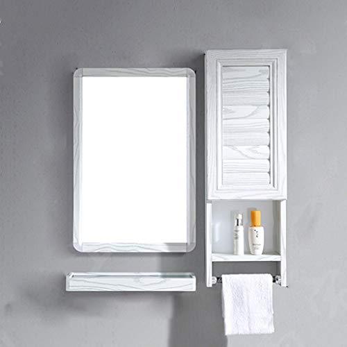 QXHELI Spiegels Spiegels - eenvoudige moderne ruimte van de aluminium badkamer opbergkast muur thuis afhankelijk wastafel toilet handdoek rek spiegel lager op een plank welkom (grootte: (b)