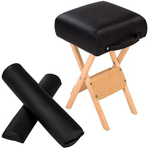 ZLYY Tabouret + Coussin Demi-Cylindre + Coussin Rouleau pour Table de Massage (Color : Noir)