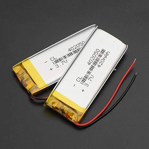 mrwellog 402050 3.7V 420mAh Batería de Iones de Litio Reemplazo de baterías de Iones de Litio Lipo Polímero de Litio Li-Po para tacógrafo Altavoz Bluetooth Coche DVR-402050 420 mAh 2 Piezas