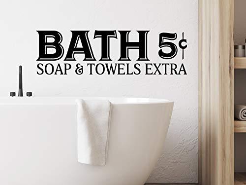 Adhesivo de pared de PVC para baño con jabón y toallas de baño