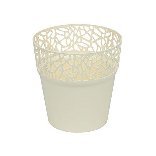 Rond cache-pot 14.5 cm NATURO plastique romantique style en creme
