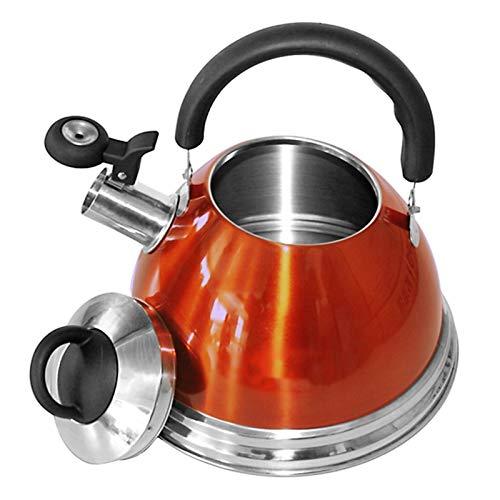 ASDFDG Estufa Top Tetera Hervidor de Gas de silbido con Estilo Premium 304 Acero Inoxidable 3L Tetera Abra Llama Cocina Universal Té Agua Cafetera