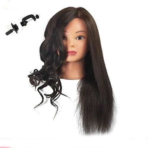 Tete d'entrainement avec des cheveux humains 100% vrais. Mannequin de coiffure (support de fixation de table inclus)
