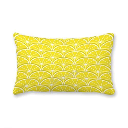 Fundas de almohada lumbar, con cremallera oculta, patrón de rodajas de limones amarillas, funda de almohada decorativa para el hogar, cama, sofá, sala de estar, 30 cm x 50 cm
