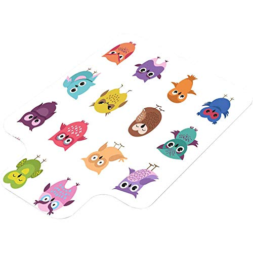 Hard Floor Chair Mat, Cute Cartoon owl Characters Vector Set, Unique Printed Office Home Floor Protector mat Chairmats 36'x48' with Lip