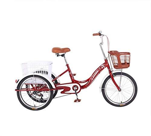 YAALO Erwachsene Dreiräder Single Speed Fahrrad 20Zoll 3 Rad Fender Trike Fahrrad Fahrradpedal Mit Einkaufskorb Vorderkorb-rot