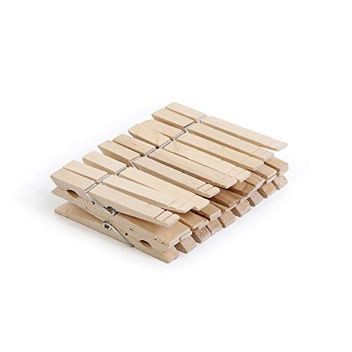 Smart Design 4-Coil Heavy Duty Wooden Clothespins - Non Staining Hardwood Peg Pins - Close Wire Springs - Drying Hanging Clothes Laundry Linens - Home 33 x 08 Inch 18 Pack
