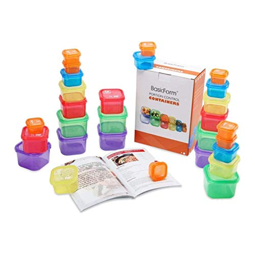 21 Day Portion Control Container Kit, 14 Pcs Fix Containers for Weight Loss, Portion Containers, Multi-Color Coded and Label-Engraved for Diet Plans Microwave Safe Dishwasher Safe