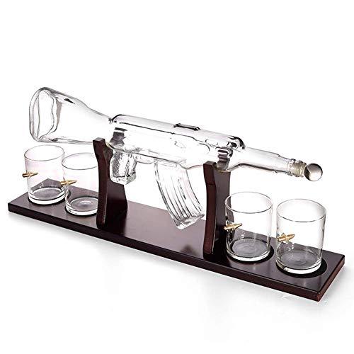 NMBD Decantatore di Whisky Creativo Set di Vetro a Forma di 800 ml di Vetro a Forma di 4 Pezzi Set di Occhiali da Whisky, recipiente per Vino a Barra per la Vodka.