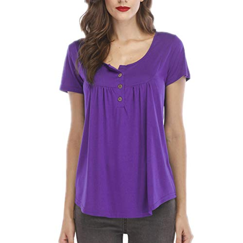 Fantastic Prices! Lovor Women's Henley Shirts Casual Scoop Neck Pleated Blouse Button Up Front Pleated Flared Comfy Solid Loose Tunic Tops (Purple,XXXXL)