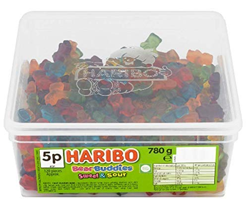 1 X FULL HARIBO SWEETS TUB FOR KIDS AND ADULTS (BEAR BUDDIES SWEET & SOUR)