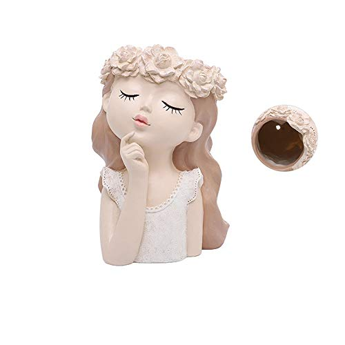 qazwsx Vase Face Planter Decorative Indoor Outdoor Head Plant Pot Resin Small Flower Pot Vase Creative Face Statue Planter Home Garden Decor Sculpture Home Decor (Color : Fairy Flowerpot A)