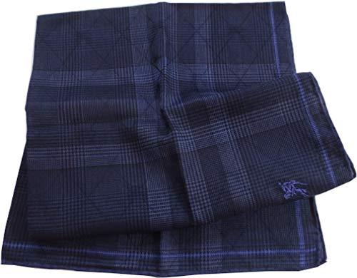 [バーバリー]BURBERRY 紳士 メンズ ハンカチ ホースマーク刺繍 格子チェック (紫)