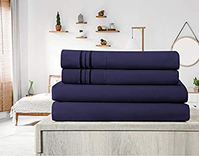 Elif Bed Sheets Set - Brushed Microfiber 1800 Bedding - Wrinkle Free, Deep Pocket, Machine Washable, Hypoallergenic, Fade Resistant Bedding Sheet Set (King, Navy Blue)