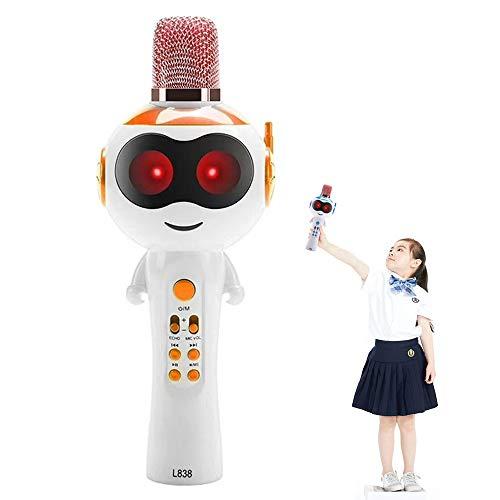 Presente altavoz Karaoke FXMINLHY niños micrófono inalámbrico Bluetooth llevó la luz de Musical cambio de sonido portátil Niños Mic Karaoke Máquina de Navidad. (Orange)