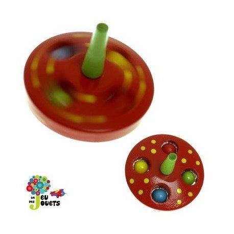 Legler Toupie Billes Jouet en Bois Diamètre 5 cm pour Enfant 3 Ans + - Rouge