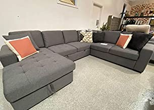 Riley U Shape Living Room Corner Bed L-Shape Sofa with Cup Holder Futon Sofa Bed Furniture Grey Color Living Room Sofa Set...