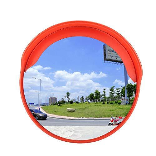Espejo de Tráfico Convexo de Seguridad Vial de Gran Angular Espejo de Tráfico Redondo con Gorro para Lluvia para Señalización Seguridad, Diámetro de Vigilancia de 30cm, Ángulo Visual 130°