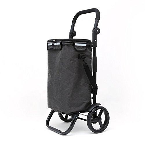 Warenkorb Trolley Last 25kg Kapazität 40L Aluminiumlegierung 8-Zoll-Räder Mode Klappgriff verstellbare schwarze Tasche Wärmedämmung (Farbe : A)