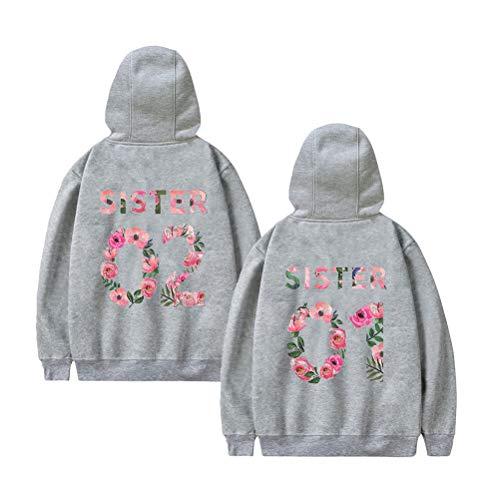Best Friends Pullover voor twee meisjes Sister bloemenpatroon afdrukken beste vrienden hoodie BFF pullover Sister capuchonpullover dames pullover sweatshirt 1 stuk