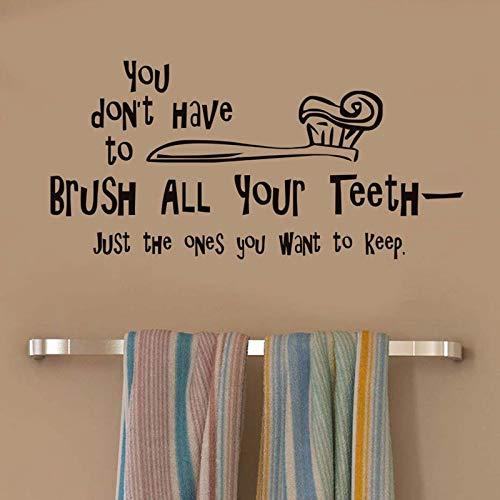 putzen Sie alle Ihre Zähne Englisch Zahnbürste Muster Wandaufkleber Persönlichkeit kreative Badezimmerdekoration 40X 59CM